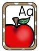 Burlap & White Polka Dot Alphabet Cards