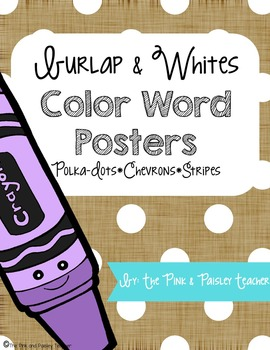 Burlap & Whites Color Words Posters