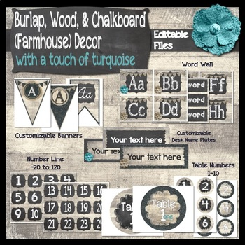 Burlap, Chalkboard, & Wood (Farmhouse) Classroom Decor