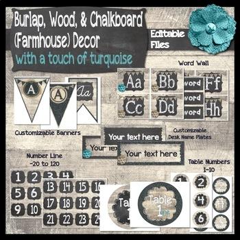 Burlap, Chalkboard, & Wood Classroom Decor