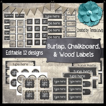 Burlap, Chalkboard, & Wood (Farmhouse) Labels