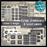 Burlap, Chalkboard, & Wood (Farmhouse) Labels