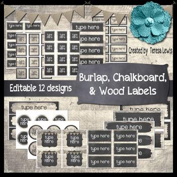 Burlap, Chalkboard, & Wood Labels