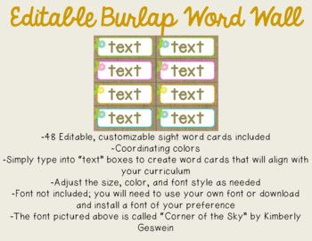 Burlap Word Wall {EDITABLE}