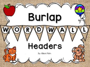 Burlap Word Wall Headers