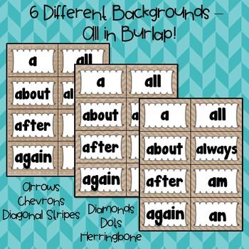 Burlap Word Wall ~ Sight Words ~ Editable