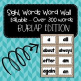 Burlap Word Wall ~ Sight Words ~ Editable