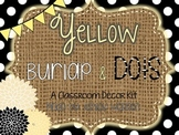 Burlap, Yellow, and Black and White Polka Dots