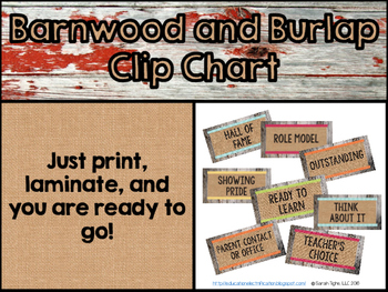 Burlap and Barnwood Clip Chart