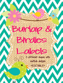 Birds and Burlap Theme Labels *editable*
