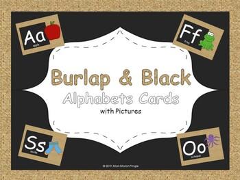 Burlap and Black Alphabet Cards