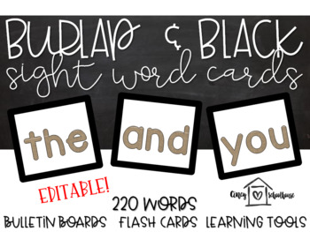 Burlap and Black Sight Word Cards