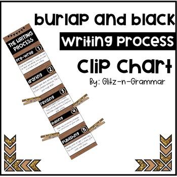 Burlap and Black Writing Process Clip Chart