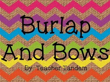Burlap and Bows Classroom Decor