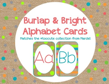 Burlap and Bright Alphabet Cards matches toocute
