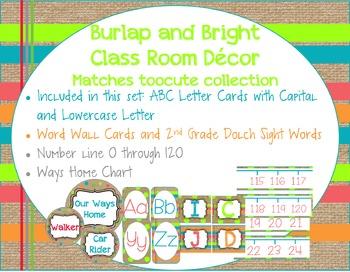 Burlap and Bright Classroom Decor Matches toocute