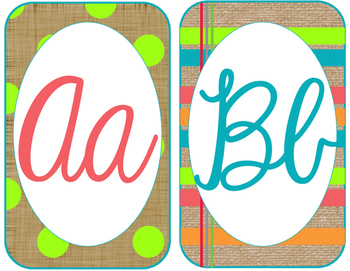Burlap and Bright Cursive Alphabet Cards matches toocute