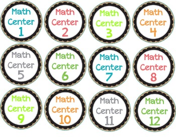 Burlap and Bright Math Centers toocute