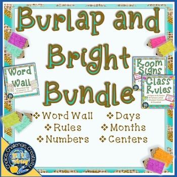Burlap and Bright Room Decor Bundle
