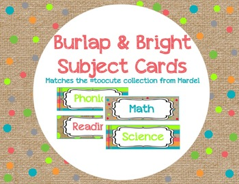 Burlap and Bright Subject Cards matches toocute