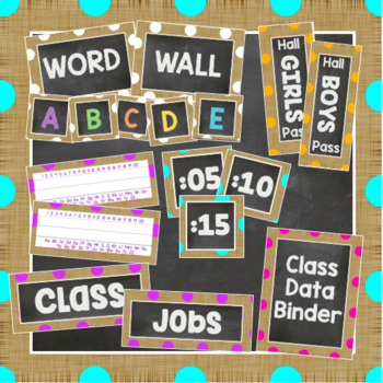Burlap and Brights Polka Dot Classroom Decor Kit