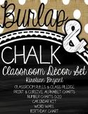 Burlap and Chalk Classroom Decor Set