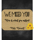Burlap and Chalkboard Absent Folder Covers! (EDITABLE)