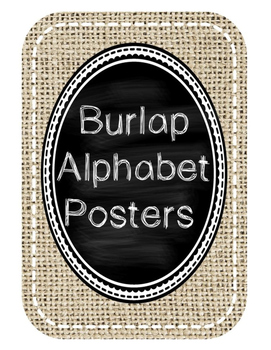 Burlap and Chalkboard Alphabet Posters with Pictures (Print)