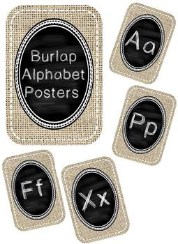 Burlap and Chalkboard Alphabet Posters