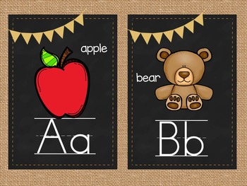 Burlap and Chalkboard Alphabet Strip and Word Wall