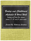 Burlap and Chalkboard Alphabet posters and word wall
