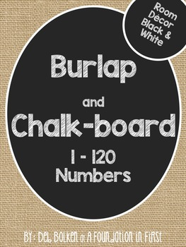 Burlap and Chalkboard - BLACK AND WHITE Room Decor NUMBERS 1-120