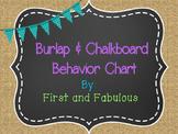 Burlap and Chalkboard Behavior Chart