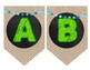 Burlap and Chalkboard Bunting Letters with a Splash of Teal and LIme