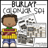 Burlap and Chalkboard CALENDAR Set