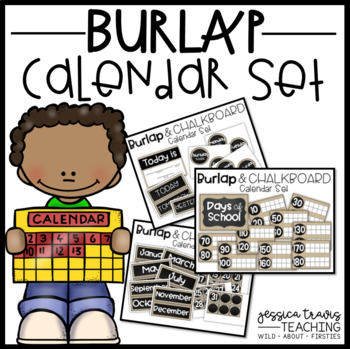 Burlap and Chalkboard CALENDAR Set