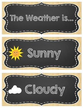 Burlap and Chalkboard Calendar and Weather Set {Editable} for Back to School