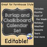Burlap and Chalkboard Calendar and Weather Set {Editable}