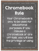 Burlap and Chalkboard Chromebook Rules Posters