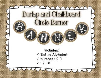 Burlap and Chalkboard Circle Banner