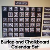 Burlap and Chalkboard Classroom Calendar Set