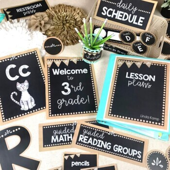 Burlap and Chalkboard Classroom Decor Set
