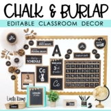 Burlap Chalkboard Farmhouse Classroom Decor Bundle EDITABLE