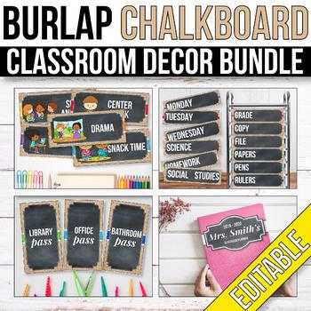 Burlap and Chalkboard Classroom Decor Bundle EDITABLE