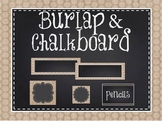Burlap and Chalkboard Classroom Decoration Pack-*EDITABLE*
