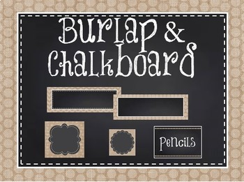 Burlap and Chalkboard Classroom Decoration Pack