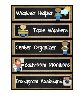 Burlap and Chalkboard Classroom Jobs