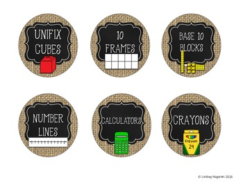 Burlap and Chalkboard Classroom Labels