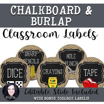 Burlap and Chalkboard Classroom Labels