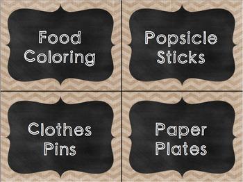 Burlap and Chalkboard Classroom Labels **EDITABLE**